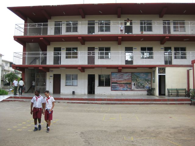 Front view of school