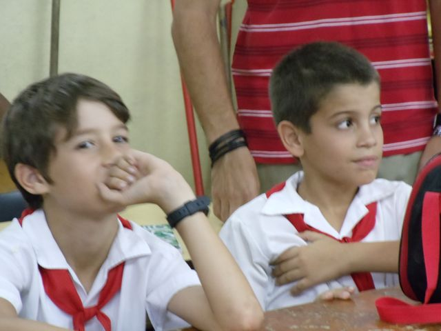 Two boys in school
